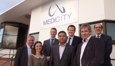 MediCity tenants with David Browning, Directorof MediCity and Mark Chivers, Boots UK med